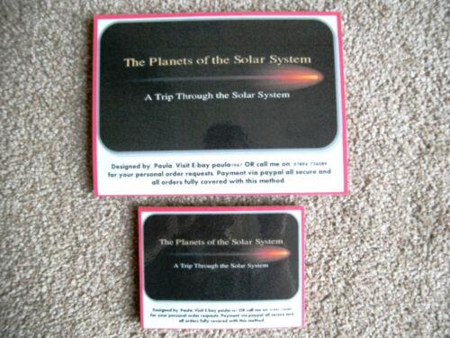 Our Solar System picture /& word flash cards 18 cm x 13.5cm OR 12cm x 9cm Colour