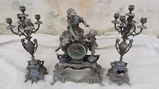 Pendule ancienne/bronze/régule/marbre/cassolette bougeoir/femme/enfant/pied lion