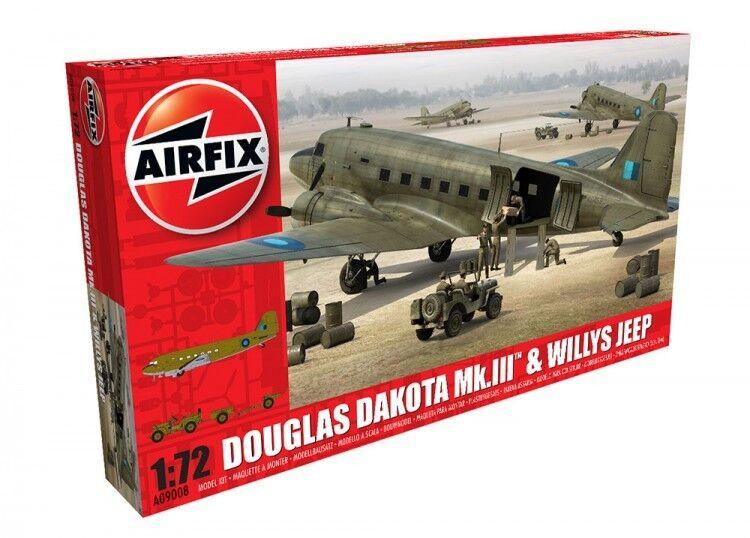 Airfix A09008 Douglas Dakota Mk.III & Willys Jeep Plastic Kit 1 72 Scale - T48