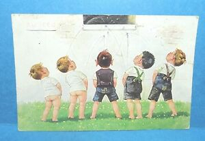 Five Little Boys Peeing in A Window Postcard French Postmarked Geneve