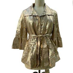 NEW Lafayette 148 Blazer Jacket Metallic Gold Linen 3/4 Sleeve Zip Jacket 4