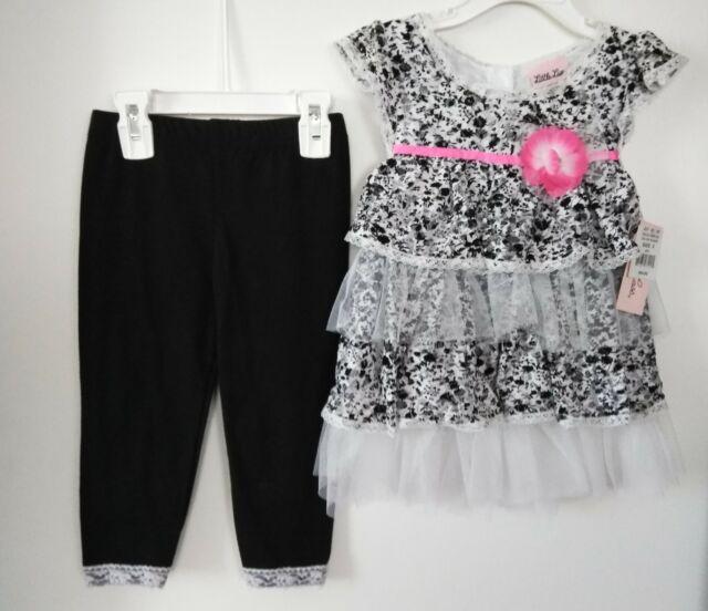 d11f6041051f Toddler Girls Little Lass Floral Dot Black Tiered Dress&Leggings Set Size:5