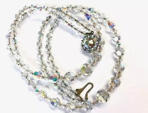 Vintage-Exquisite-Double-Strand-GRADUATING-Aurora-Borealis-Glass-Bead-Necklace