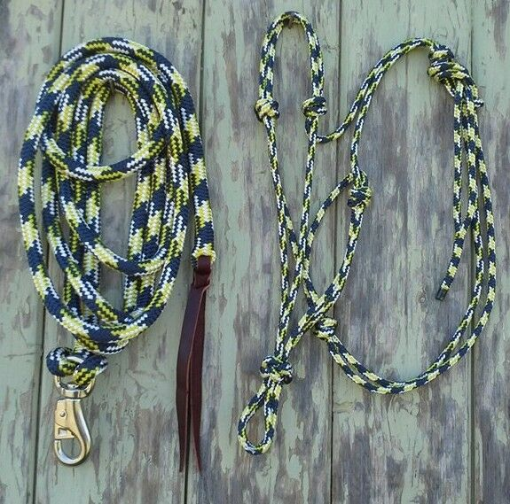 Rope Halter & 12ft (3.6m) Lead Rope with Loop Bull Snap - Navy Yellow White