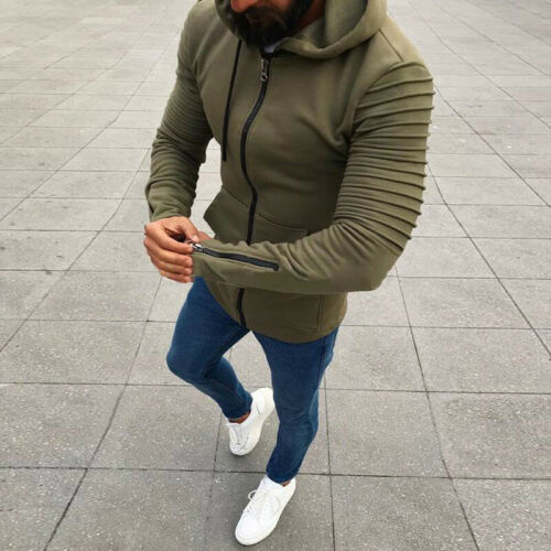 Fashion Men/'s Solid Color Zipper Coat Jackets Hooded Zip Up Hoodie Size L-3XL