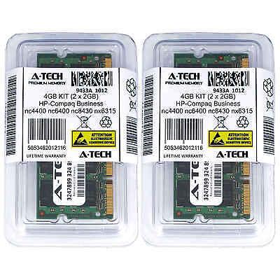 4GB KIT 2 x 2GB HP Compaq Business nc4400 nc6400 nc8430 nx6315 Ram Memory
