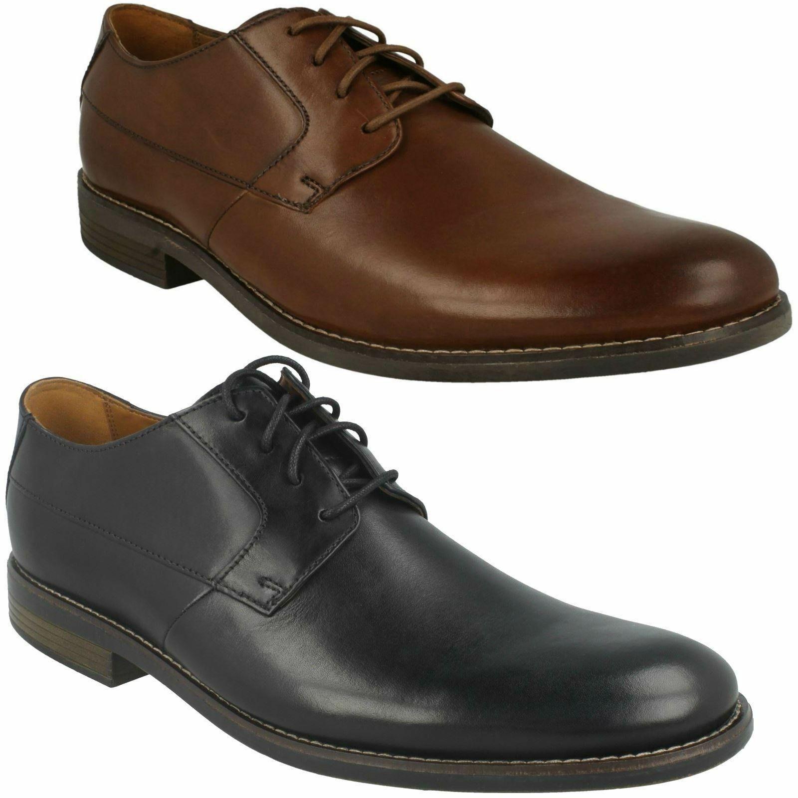 Para hombres Cuero Suave Clarks Becken Liso Fiesta Formal Smart Trabajo Zapatos Con Cordones
