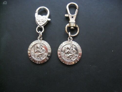 St Christopher Charm Medallion Rhodium Plated Swivel// Heart Clasp keyring