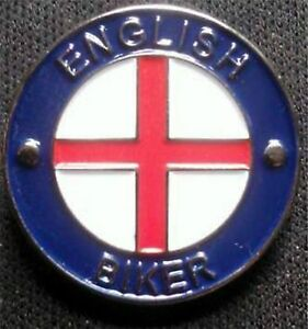 English Biker / George Cross Pin Badge Enamel National Motorbike UK & GB