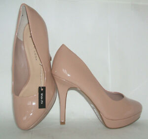 BN NEW LOOK SIZE 3 OR 5 WIDE FIT DARK NUDE PATENT MID HIGH HEEL ...