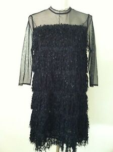 be29b0b673b New Zara black fringe dress size L sheer illusion panel club party ...