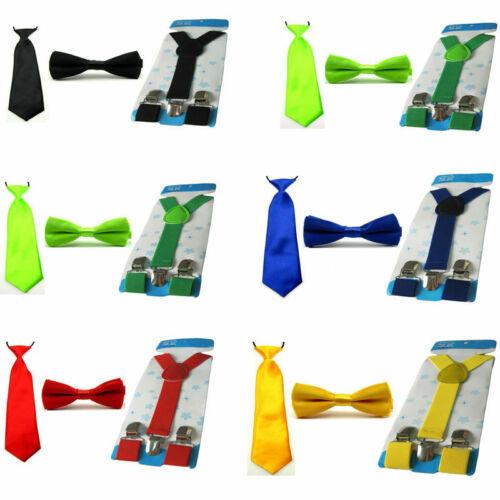 Child Kid School Boy Solid Tie Necktie Bowtie Elastic Y-Back Suspender Brace Set