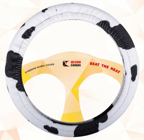Nice steering wheel cover and seat belt comforters in  black white  cow design