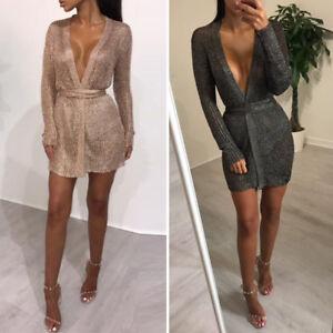 Sexy-Women-V-Neck-Long-Sleeve-Low-Cut-Sequin-Bling-Bodycon-Mini-Dress-Clubwear