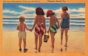 VIRGINIA-BEACH-VA-HAVING-A-WONDERFUL-TIME-ON-THE-BEACH-1953-POSTMARK-POSTCARD