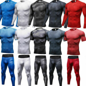 Mens-Compression-Athletic-Base-Layers-Gym-Running-Tights-Shorts-Moisture-Wicking