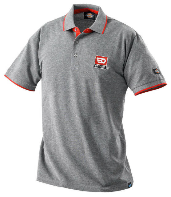 FACOM TOOLS GREY & RED POLO T SHIRT with Collar - MEDIUM - Made by Dickies