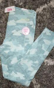 Girls justice full length fleece lined legging size 8 new minty aqua camo