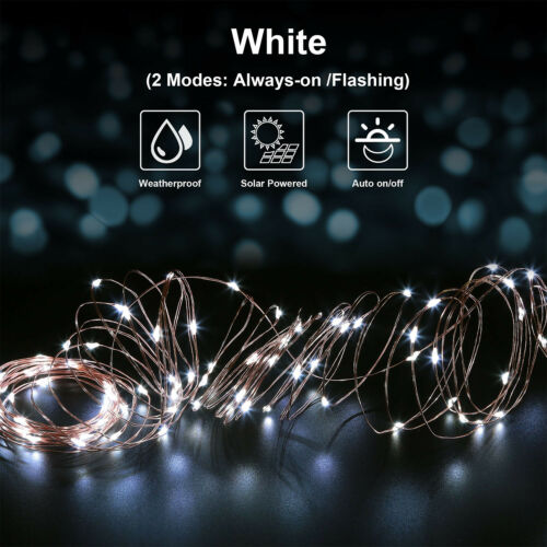 Waterproof Outdoor Fairy US Solar Power LED String Lights 100 Copper Wire 33 ft