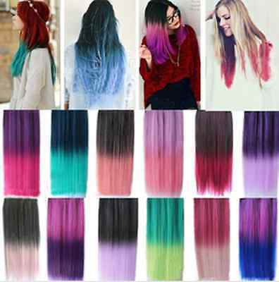 "24"" Rainbow Color Hair Extensions Straight Synthetic 3/4 Full Head Clip in Hair"