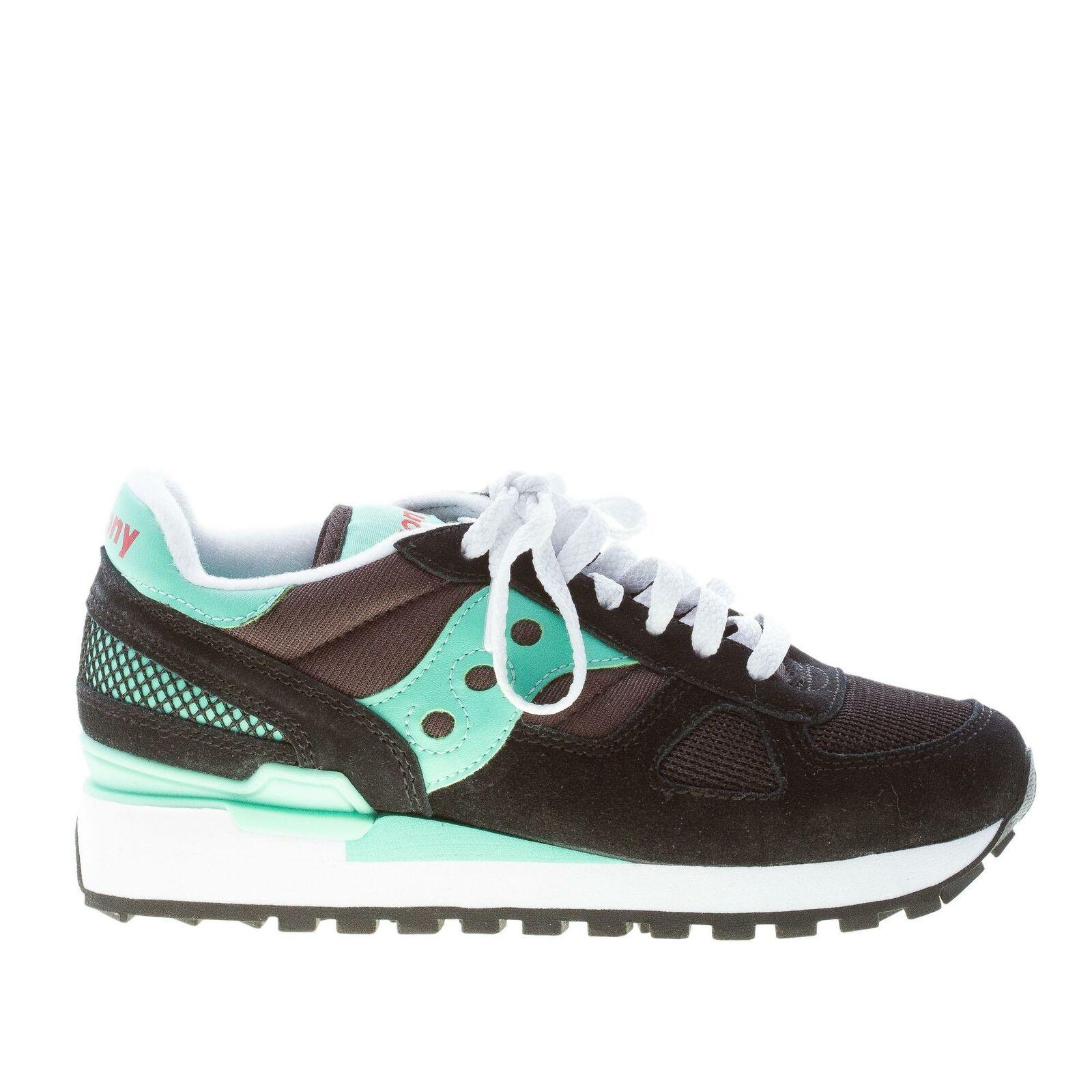 SAUCONY scarpe donna scarpe da ginnastica Shadow tessuto camoscio nero pelle verde acqua