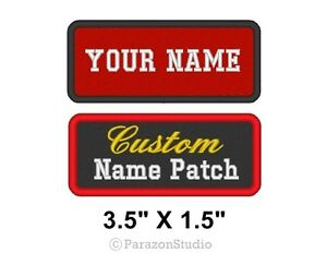 Custom-Embroidered-Name-Tag-Patch-Motorcycle-Biker-Badge-3-5-x-1-5-034-A