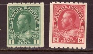 CANADA-1912-Admiral-coils-perf-8-horizontally-Scott-123-4-FVF-MNH-cat-550