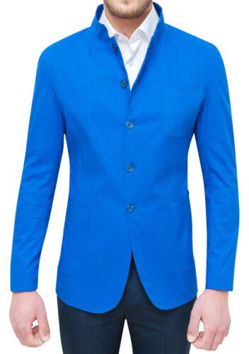 Casual Giacca Alla Elegante Colletto Blu Coreana Elettrico Cotone Con Uomo Qbr XqUxzXar