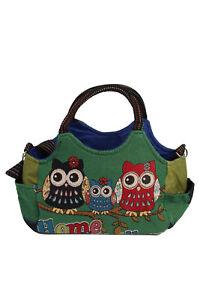 Ladies-Owl-Print-Bag-Large-Rucksack-School-Gym-Green-BG429