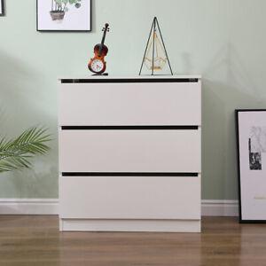 AVC Designs 3 Drawer Storage Chest of Drawers White Modern MDF inc Warranty
