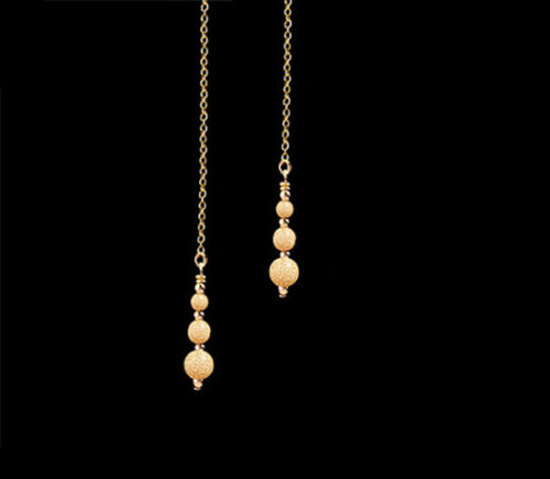 *CKstella*  Sparkling 14K Gold gf Drop Dangle Ear Thread Threader Earrings
