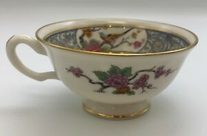 Lenox-Ming-Cup-s-P-16-Black-Backstamp-Birds-Flowers-Cream-Vintage