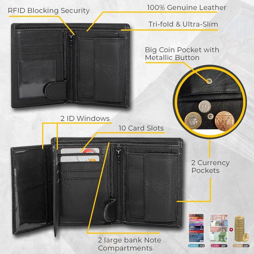 Luxury Designer Men's Leather Trifold Wallet RFID Blocking Gift for him for men