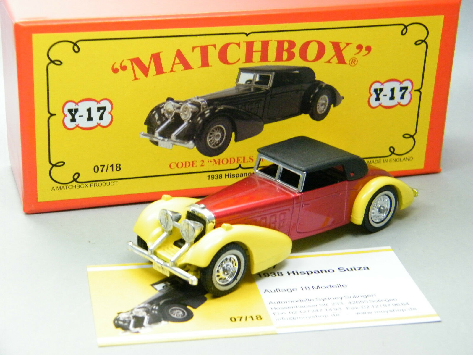 Matchbox MoY Code 2 Y-17 Hispano Suiza rot gelb Sondermodell in roter Box 1v6