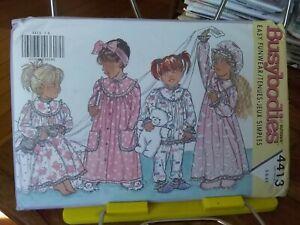Oop-Butterick-Busybodies-4413-girls-granny-nightie-pjs-hat-sz-5-6x-NEW