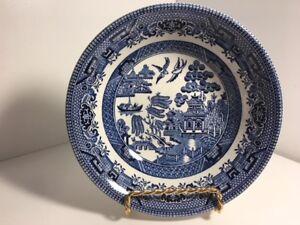 Vintage-Churchhill-England-Blue-Willow-6-034-Fruit-Dessert-Bowls-Set-of-4