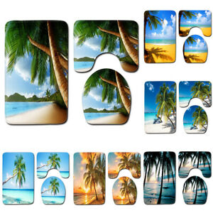 Ocean-Sea-Landscape-Bath-Mat-Beach-Palm-Tree-Bathroom-Pad-Contour-Rug-Lid-Cover