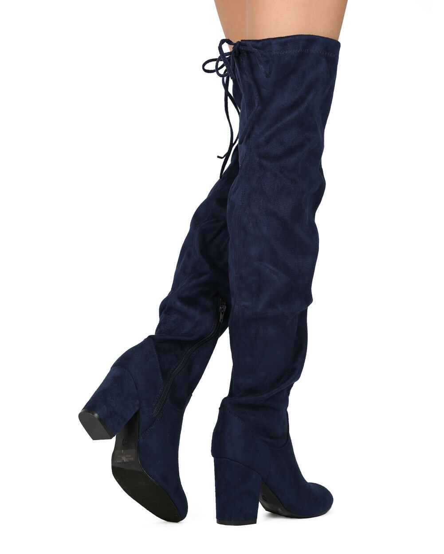 New Women Refresh Jasmin-01 Faux Suede Thigh High Drawstring Chunky Heel Boot