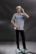 Realistic Teen Boy Fiberglass Fleshtone Full Body Mannequin With Detailed Face