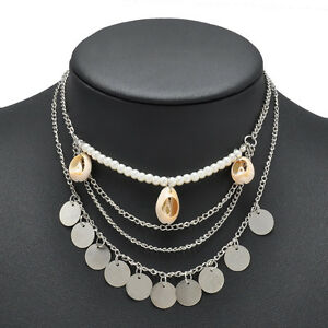Fashion-Beach-Sea-Shell-Pendant-Chain-Choker-Statement-Necklace-Bohemia-Jewelry