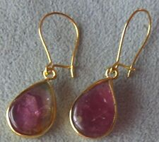 Watermelon Tourmaline Slices 14k Solid Gold Kidney Wire  Earrings skaisMR17