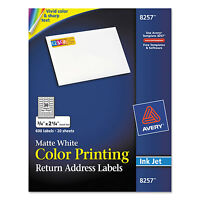 Avery Color Printing Mailing Labels 3/4 X 2 1/4 Matte White 600/pack 8257 on sale