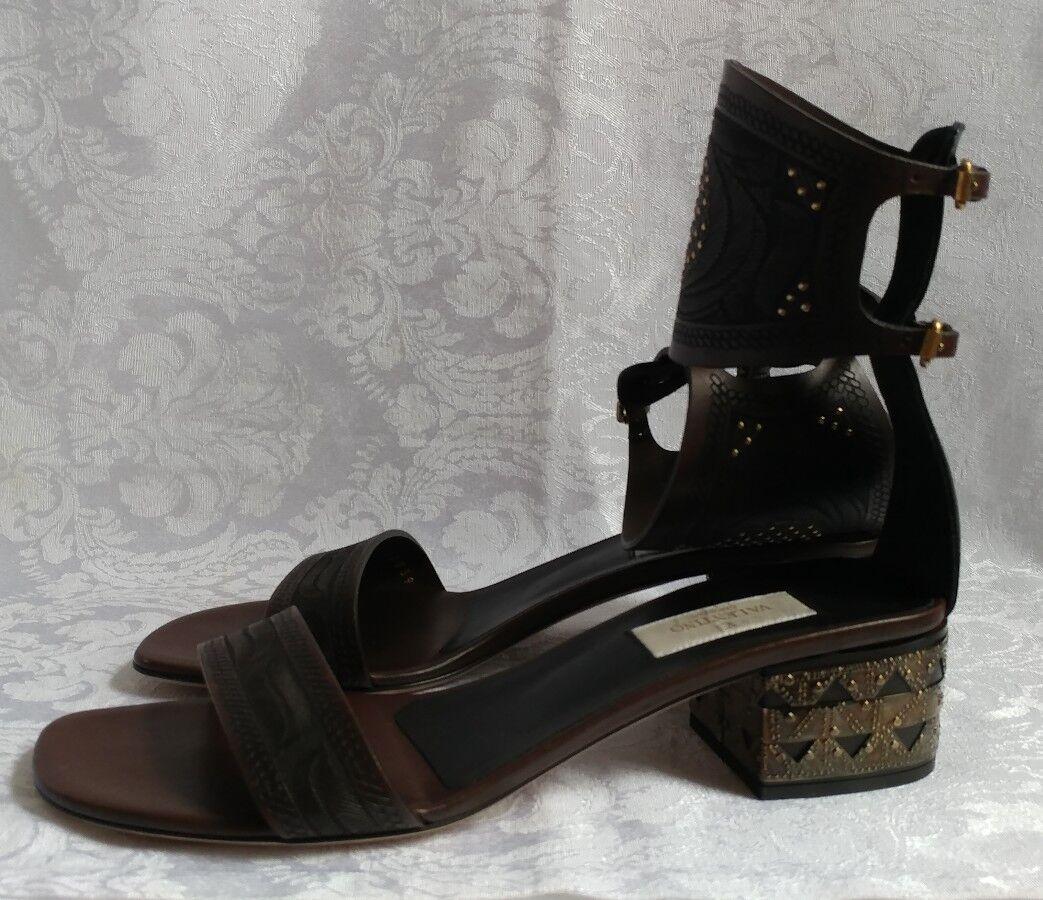 Valentino Garavani AUTHENTIC Heel Heel Heel Sandals Size 39.5 NEW 629524