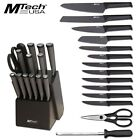 MTech 15 Piece Kitchen Cutlery Knife Set Block Stainless Steel Chef Knives