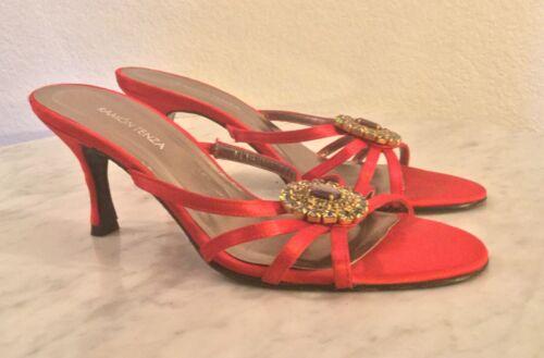 RAMON TENZA Red Satin Strappy Embellished Sandal.