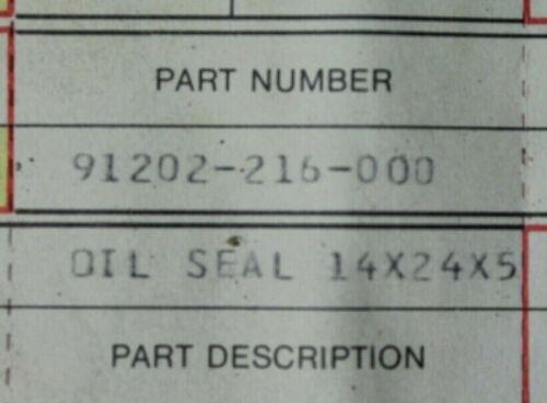 Honda Oil Seal 14x24x5 New 91202-216-000