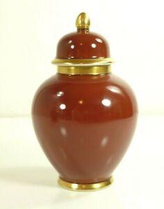 Fitz-amp-Floyd-Renaissance-Cinnabar-Small-Ginger-Jar-6-034-Rust-Red-Gold-Trim