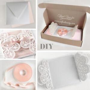 Details About Set Diy 50 100 Laser Cut Invitations Belly Band Cream Glitter Pocket Folder