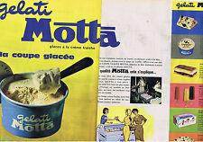 PUBLICITE ADVERTISING 084 1962 GELATI MOTTA glaces à la créme fraîche  (2 pages)