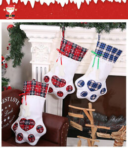Calze-di-Natale-Pet-Cane-Paw-Plaid-Borsa-Regalo-Animale-X-Mas-calza-Candy-Bags